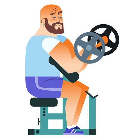 mustached: In the gym mustached man plays sports. Holding a dumbbell. Weightlifting, fitness, health Illustration