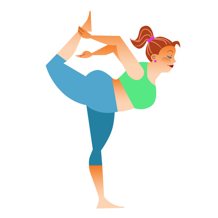 conventional: Conventional bit thick woman does yoga. Health care and spiritual