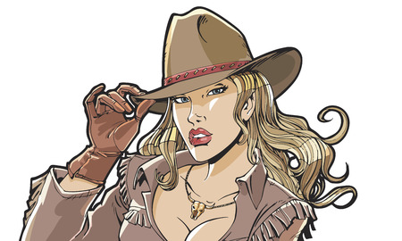 western: Beautiful girl cowboy hat and clothing. Superhero, movie star, model Illustration