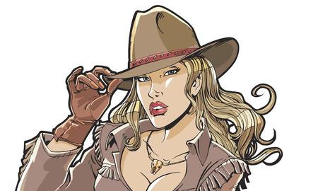 Mooi meisje cowboyhoed en kleding. Superhero, filmster, model