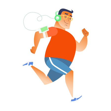 Fat man does running and listening to music in the player and headphones. Sports and fitness