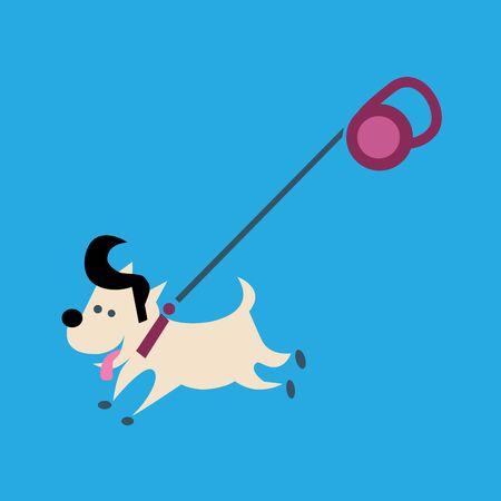 leash: Little joyful fashionable dog on a leash. Walk Illustration