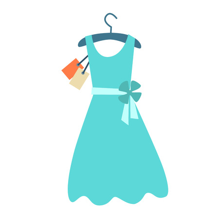 clothing: Summer dress on a hanger with a price tag. The symbol of the sale icon