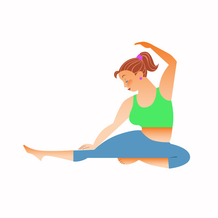 spiritual woman: Conventional bit thick woman does yoga. Health care and spiritual. Yoga alphabet. The Letter D
