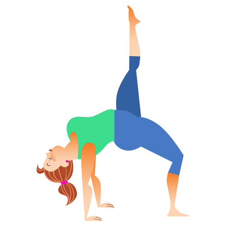 spiritual woman: Conventional bit thick woman does yoga. Health care and spiritual. Yoga alphabet. The Letter L