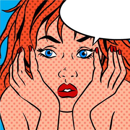 desconfianza: La chica se sorprende. Fondo retro del arte pop del vintage cómico