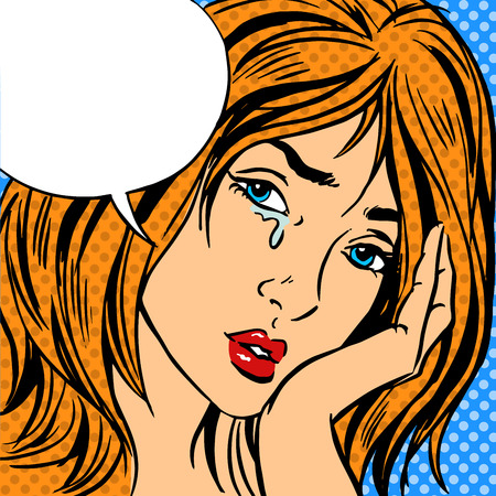 Girl cry Pop art vintage comic Retro background