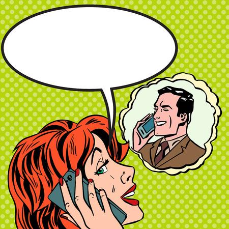 Vrouw man telefoon praten Pop art vintage grappige Stockfoto - 38394620