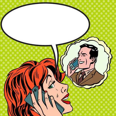 woman on phone: Woman man phone talk Pop art vintage comic