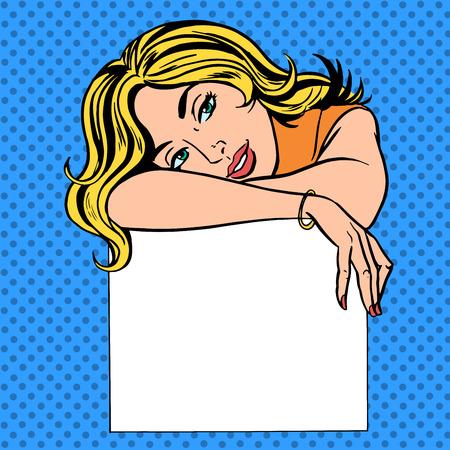 vrouw met een poster plaats voor tekst Pop art vintage grappige Stock Illustratie