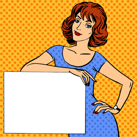 woman with poster place for text Pop art vintage comic Stock Illustratie