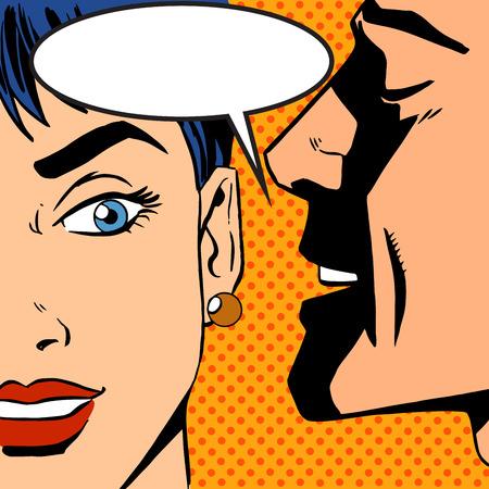 chismes: hombre susurra chica pop del arte del vintage c�mica Vectores
