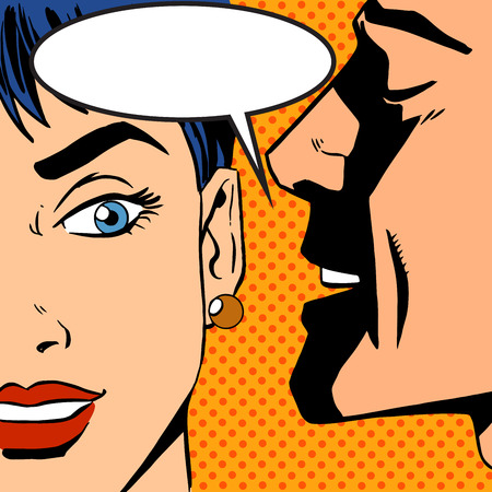 husband and wife: man whispers girl Pop art vintage comic Illustration