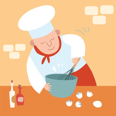 confectioner: cook kitchen Whisk eggs Illustration