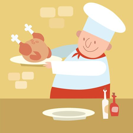 speciality: Chef restaurant in kitchen cooking poultry chicken Illustration