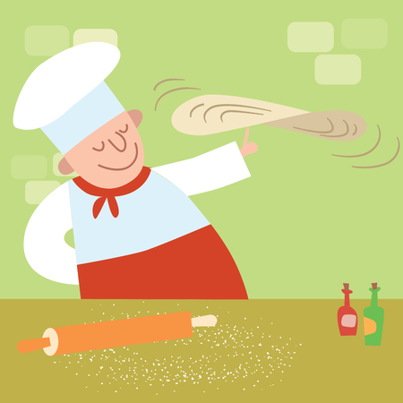 pizza dough: restaurant cook in the kitchen cooking pizza Illustration
