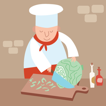 fine dining: Cook shreds cabbage restaurant kitchen Illustration