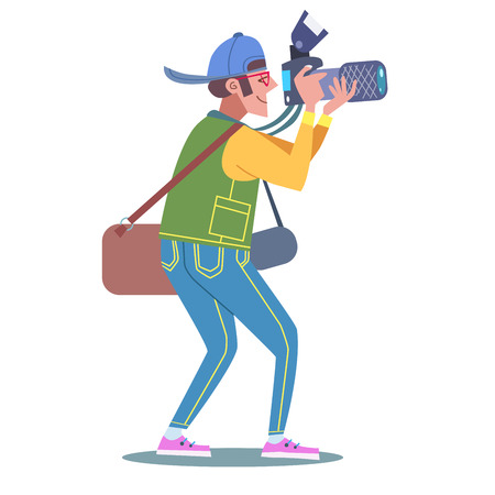 Photographer journalist reporter at work with a camera  イラスト・ベクター素材