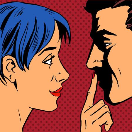Stop de vrouw nodigt de man te blijven zetten een vinger op zijn lippen. Pop art vintage grappig. Roddels en geruchten praten over de liefde. Retro-stijl