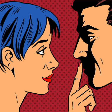 husband: Stop the woman invites the man to stay put a finger to his lips. Pop art vintage comic. Gossip and rumors talk about love. Retro style