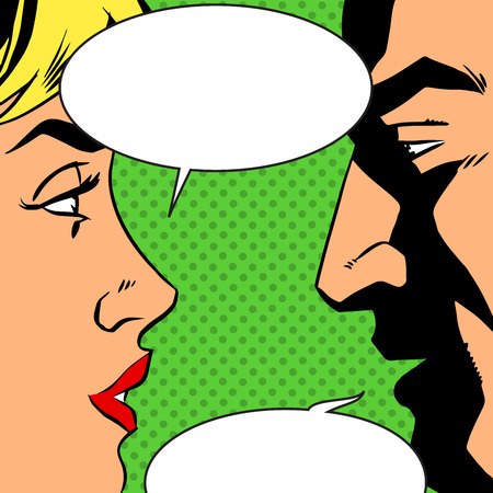 Man and woman talking comics retro style. Bubbles for text. The theme of love, relationships and communication. Imitation bitmap effect Çizim