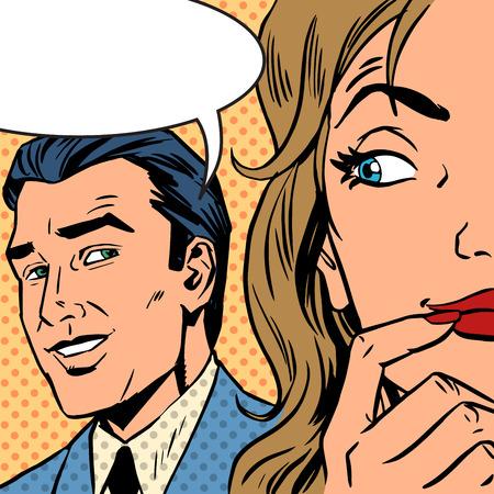 comic: El arte pop cómico de la vendimia. El hombre llama a la mujer cómico retro estilo. Nube de texto. Los chismes y rumores hablan de amor. Estilo retro