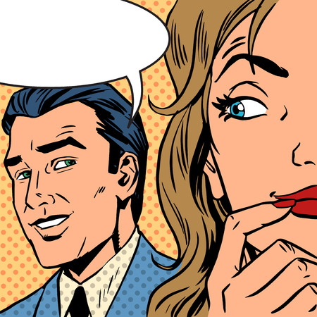 retro cartoon: Pop art vintage comic. The man calls the woman retro style comic. Cloud for the text. Gossip and rumors talk about love. Retro style
