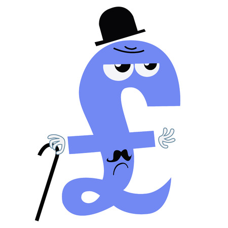 stock price losses: The character of the national currency is the pound sterling UK England gentleman. Serious businessman with a cane. Business and Finance. National currency Illustration