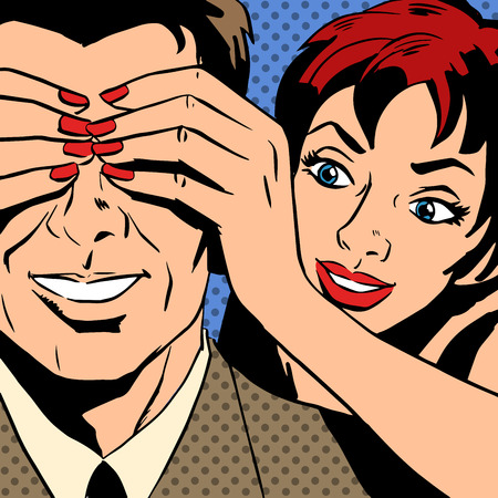 man and woman talking comics retro style