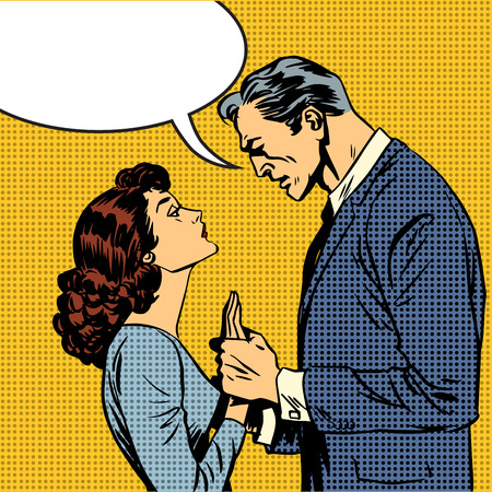 couples: husband and wife lovers serious talk love conflict pop art comic Illustration