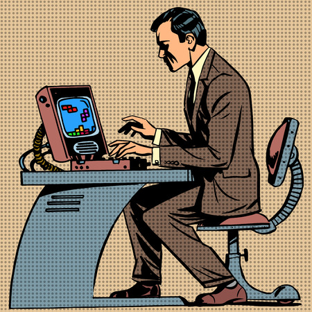 old man plays a computer game pop art comics ret Illustration