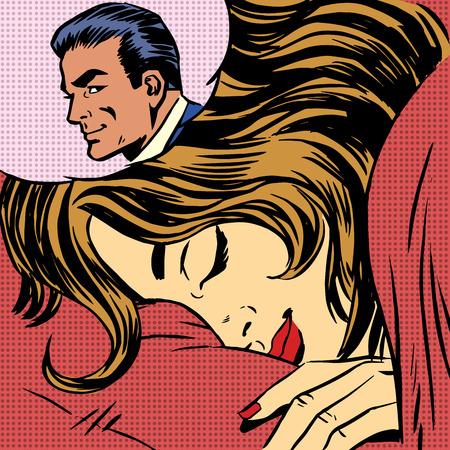Dream woman man love romance lovers pop art comics retro style H Vectores