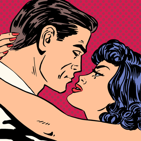 romance sex: Kiss love movie romance heroes lovers man and woman pop art comi