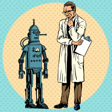 inventions: Professor scientist and robot. Creator gadget retro technology