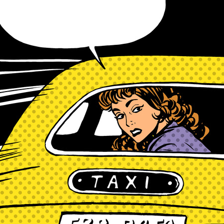 A woman goes to taxi looks around separation anxiety love maniac pop art comics retro style Halftone. Imitation of old illustrations. The girl in the back seat of the car looking through the glass