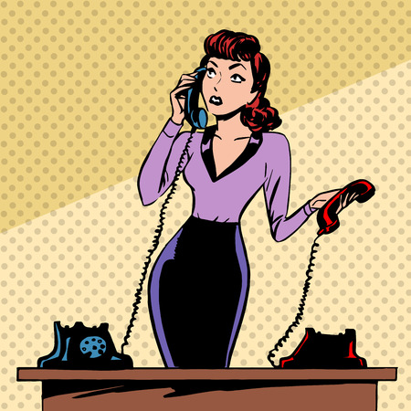 vintage telephone: Girl Secretary answers the phone progress and communication technology pop art comics retro style Halftone. Imitation of old illustrations. The old woman lifts the handset and communicates with them