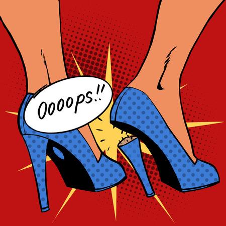 죄송합니다 여자에게 발 뒤꿈치에게 불쾌한 놀라움을 끊었다. 팝 아트 만화 복고풍 스타일의 하프 톤. 옛 그림의 모방. 텍스트 버블 죄송합니다 일러스트