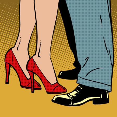 femme romantique: L'amour d'un homme et d'une femme danse câlins pop art comics demi-teinte de style rétro. Imitation de vieilles illustrations. Bubble pour le texte Illustration