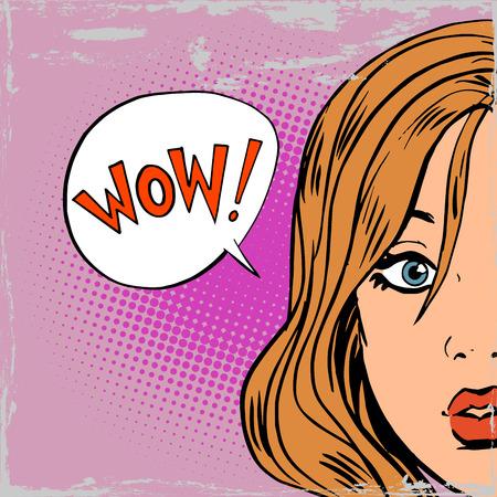 와우 깜짝 소녀는 예술 만화 복고풍 스타일의 하프 톤 팝. 옛 그림의 모방. 텍스트 거품. 오래 된 종이 골동품 일러스트