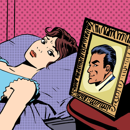 husband and wife: The woman in the bed next photo men wife husband pop art comics retro style Halftone. Imitation of old illustrations. Anxiety, sadness emotions
