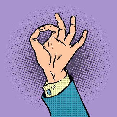hand on hip: gesture sign okay pop art comics retro style Halftone. Imitation of old illustrations
