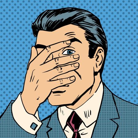 confundido: El cuero hombre confundido y buscar juego del arte pop cómics estilo retro de medias tintas. Imitación de viejas ilustraciones
