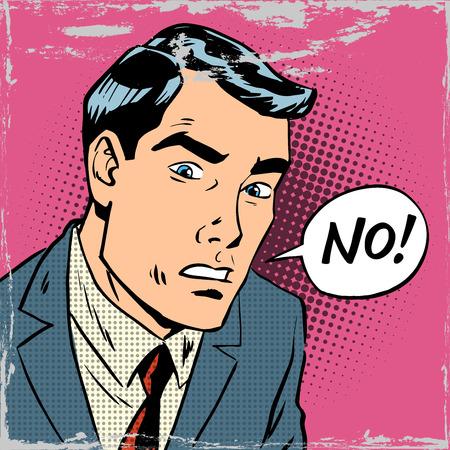 client: The man says no pop art comics retro style Halftone. Imitation of old illustrations