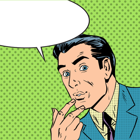 Człowiek myśli o myślenie w stylu pop-artu komiks retro półtonów. Sztuczna starych ilustracjach. Tematem wątpliwości, zainteresowania i pasji. z bańki tekstu