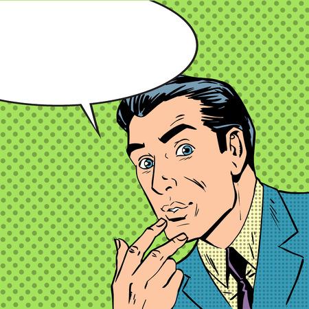 conflicto: El hombre pens� sobre el pensamiento del arte pop del estilo de los tebeos retro de medias tintas. Imitaci�n de viejas ilustraciones. el tema de la duda, el inter�s y la pasi�n. con la burbuja para el texto Vectores