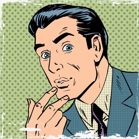 남자는 팝 아트 만화 복고풍 스타일의 하프 톤을 생각에 대해 생각했다. 옛 그림의 모방. 의심, 관심과 열정의 테마. 빈티지 효과 오래 된 종이