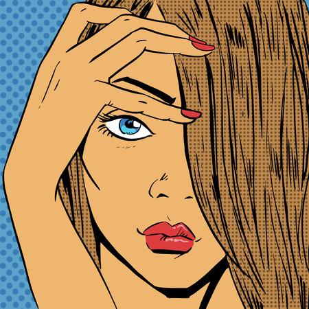 looks: Face the girl looks beautiful pop art comics retro style Halftone. Imitation of old illustrations