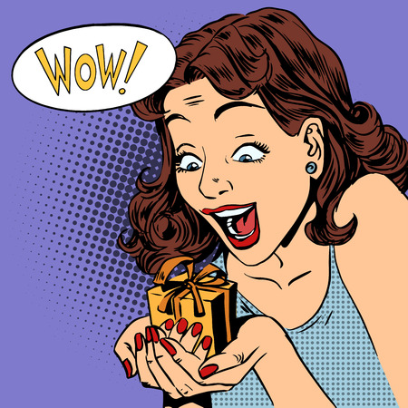 The woman is glad to get a gift wow pop art comics retro style Halftone. Imitation of old illustrations. Emotion is the reaction of the holiday
