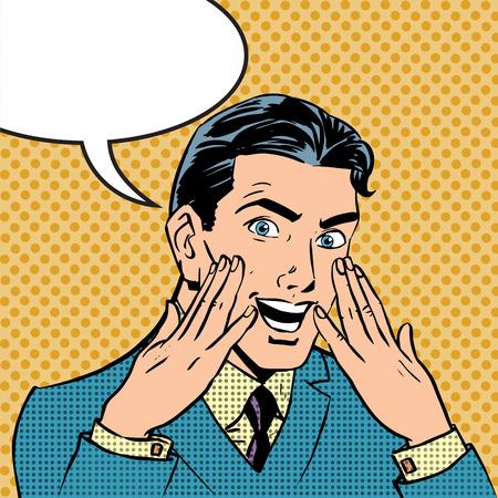retro art: Emotionele reactie mannen pop art comics retro stijl halftoon. Imitatie van oude illustraties