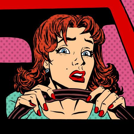 carro caricatura: Mujer piloto sin experiencia del accidente de coche del arte pop cómics estilo retro de semitono. Imitación de viejas ilustraciones